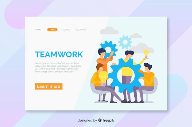Plantilla de página de aterrizaje de trabajo en equipo de negocios