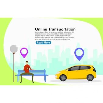 Plantilla de página de aterrizaje transporte online