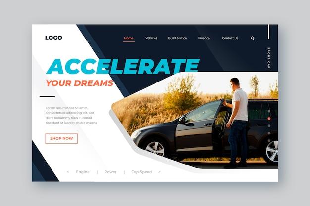 Plantilla de página de aterrizaje de venta de automóviles con hombre