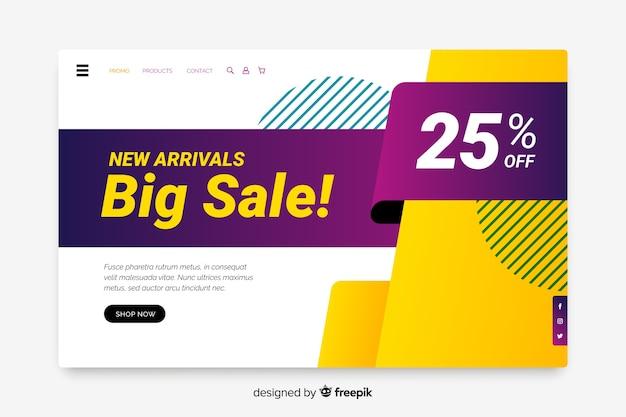 Plantilla de página de aterrizaje de ventas abstractas