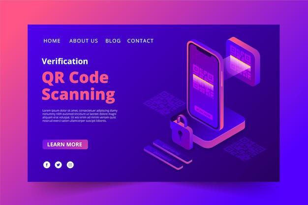 Plantilla de página de aterrizaje de verificación de código qr