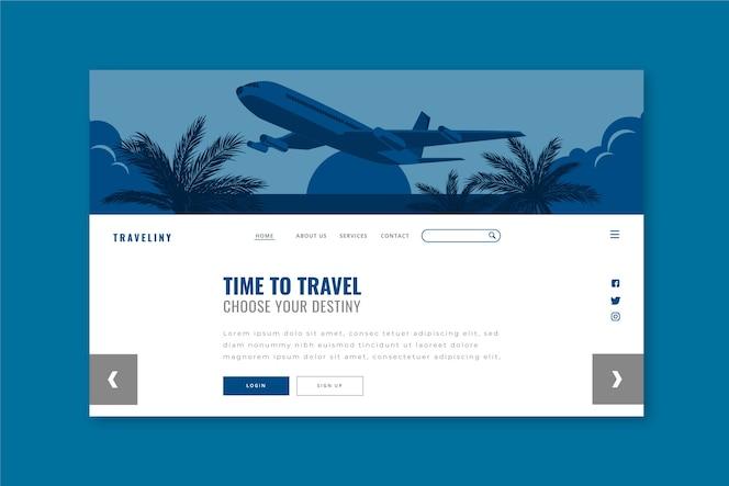 Plantilla de página de aterrizaje de viaje en color azul clásico