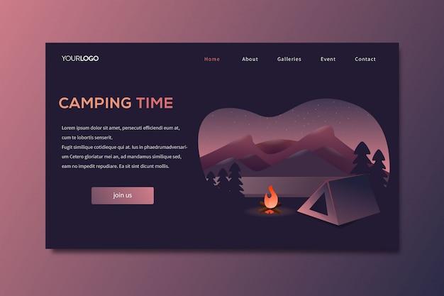 Plantilla de página de aterrizaje de viajes de camping en la naturaleza