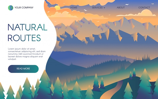 Plantilla de página de aterrizaje de viajes de montaña