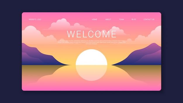 Plantilla de página de bienvenida con hermosa puesta de sol
