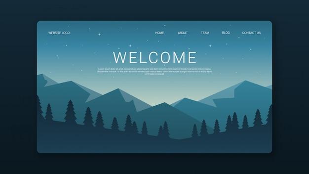 Plantilla de página de bienvenida con paisaje nocturno