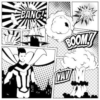 Plantilla de página de cómic con varias burbujas de discurso,