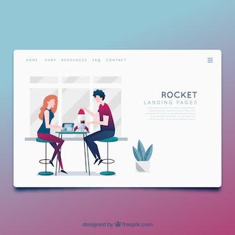 Plantilla página de destino con concepto de negocios