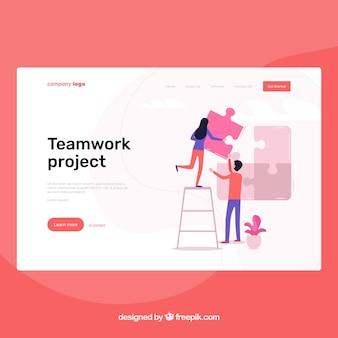 Plantilla página de destino con concepto de trabajo en equipo
