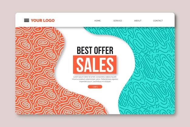 Plantilla de página de destino abstracta para promoción de ventas