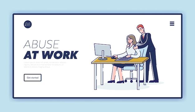 Plantilla de página de destino de abuso en el trabajo con empresario acosando a trabajadora en el lugar de trabajo