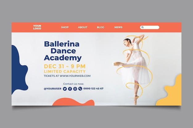 Plantilla de página de destino de academia de baile
