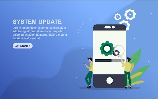 Plantilla de página de destino de actualización del sistema. concepto de diseño plano del diseño de la página web para el sitio web.