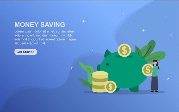 Plantilla de página de destino para ahorrar dinero. concepto de diseño plano del diseño de la página web para el sitio web.