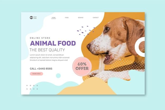 Plantilla de página de destino de alimentos para animales