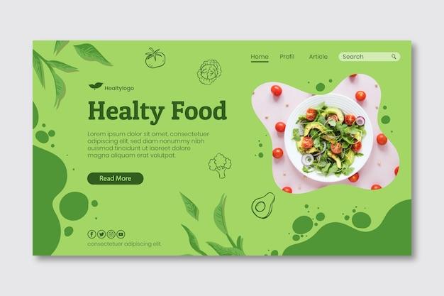 Plantilla de página de destino de alimentos bio y saludables