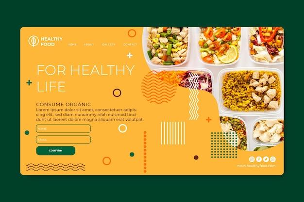 Plantilla de página de destino de alimentos saludables y bio