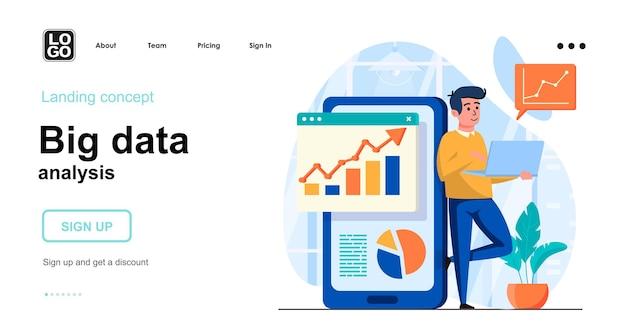 Plantilla de página de destino de análisis de big data con carácter de personas