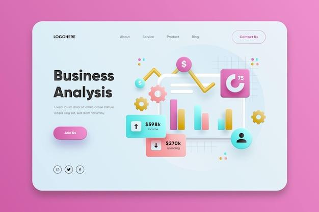 Plantilla de página de destino de análisis empresarial