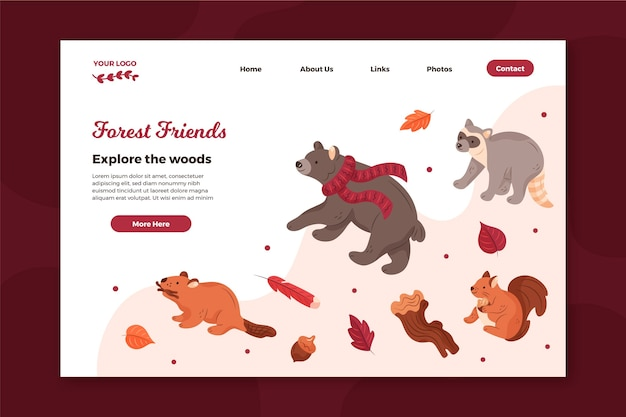 Plantilla de página de destino con animales del bosque.