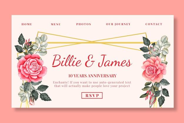 Plantilla de página de destino de aniversario de boda