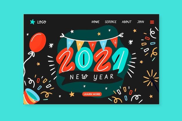 Plantilla de página de destino de año nuevo dibujada a mano
