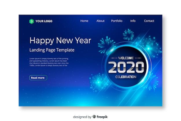 Plantilla de página de destino de año nuevo de diseño plano