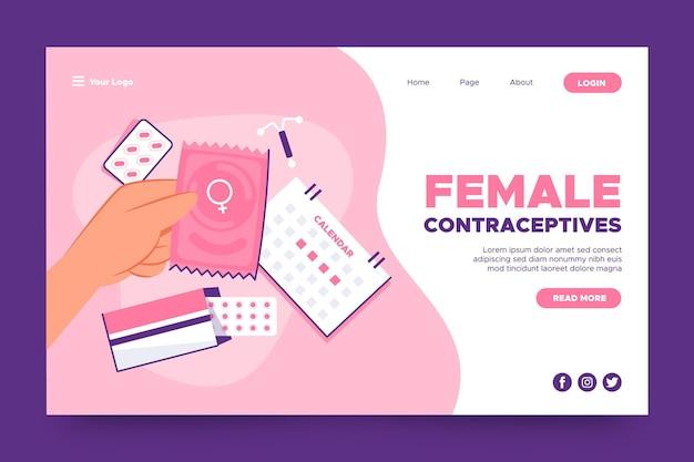 Plantilla de página de destino de anticonceptivos femeninos