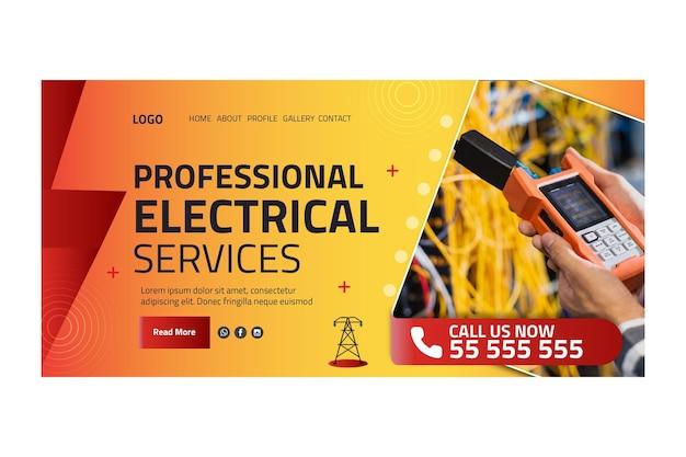 Plantilla de página de destino de anuncio de electricista