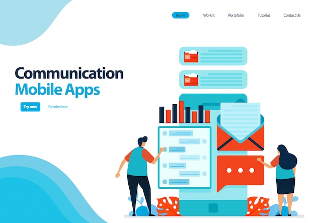 Plantilla de página de destino de aplicaciones móviles para comunicación y envío de mensajes. aplicaciones de chat con smartfone. tecnología de desarrollo de la comunicación.