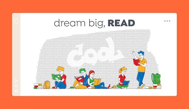Plantilla de página de destino de aprendizaje colectivo de personajes de estudiantes