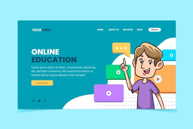 Plantilla de página de destino de aprendizaje en línea dibujada a mano