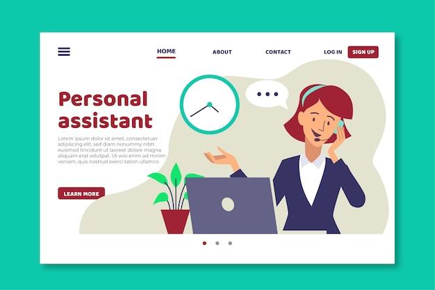 Plantilla de página de destino de asistente personal de diseño plano
