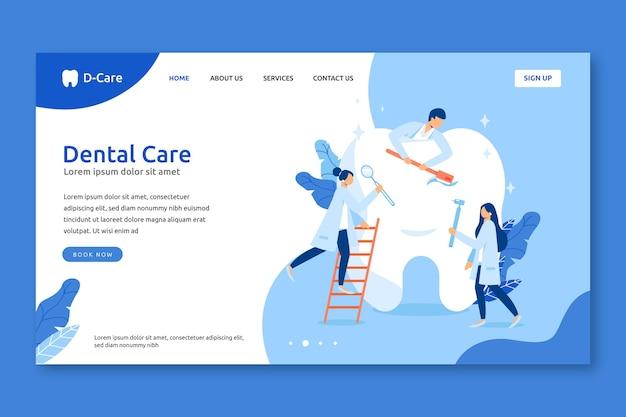 Plantilla de página de destino de atención dental plana