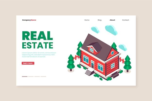 Plantilla de página de destino de bienes raíces de diseño plano
