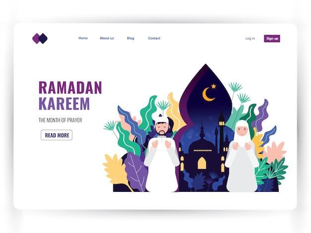 Plantilla de página de destino blanca del mes sagrado de la oración, ramadán kareem.