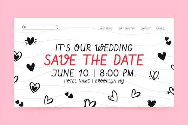 Plantilla de página de destino de boda con corazones garabatos