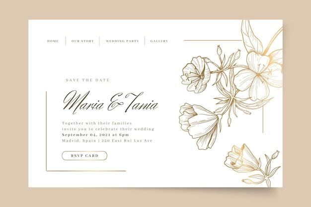 Plantilla de página de destino de boda floral