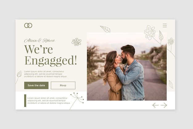 Plantilla de página de destino de boda con foto