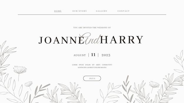 Plantilla de página de destino de boda mínima