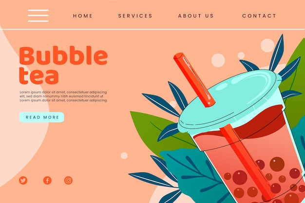 Plantilla de página de destino de bubble tea