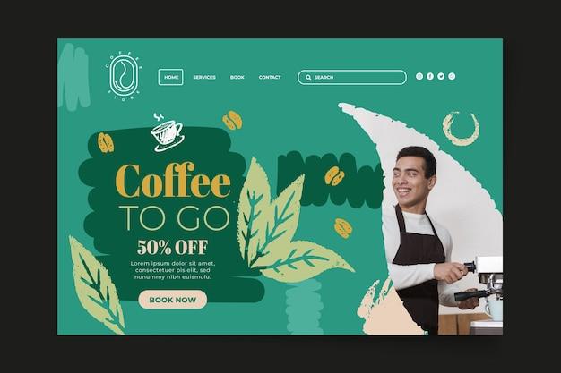Plantilla de página de destino de café para llevar