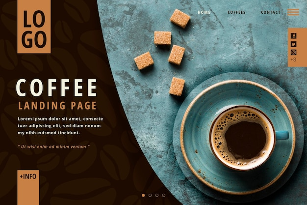 Plantilla de página de destino de café
