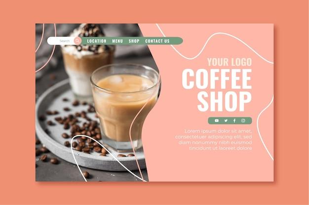 Plantilla de página de destino para cafetería.