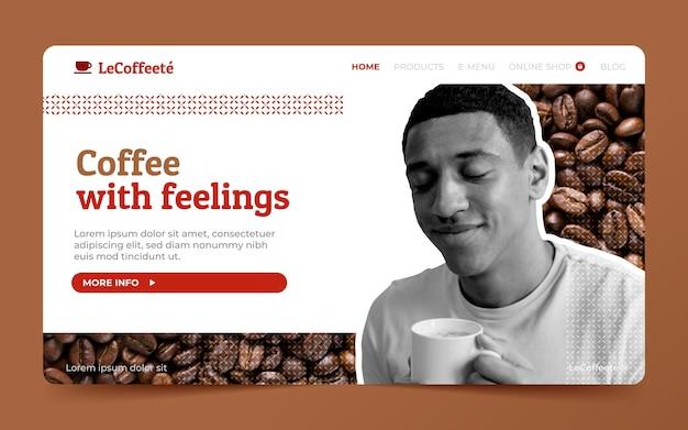Plantilla de página de destino de cafetería