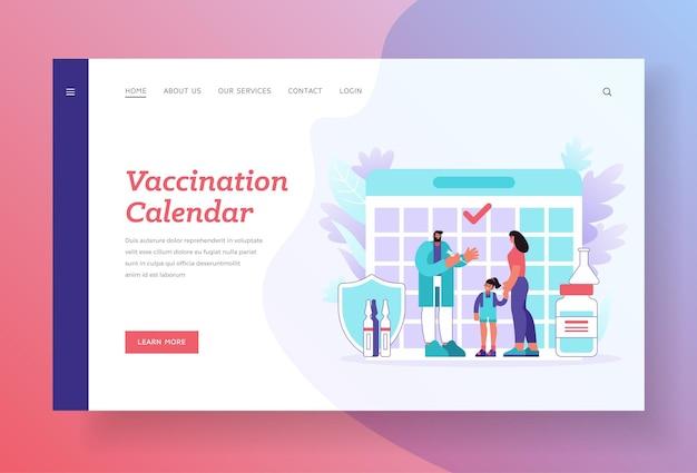 Plantilla de página de destino del calendario de vacunación.