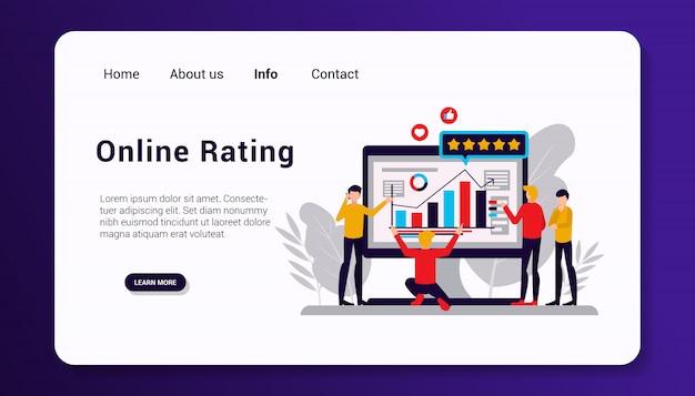 Plantilla de página de destino de calificación en línea, diseño plano