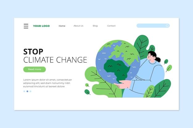 Plantilla de página de destino de cambio climático plano dibujado a mano