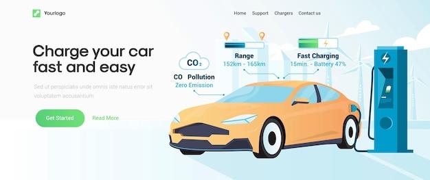 Plantilla de página de destino de carga de coche eléctrico
