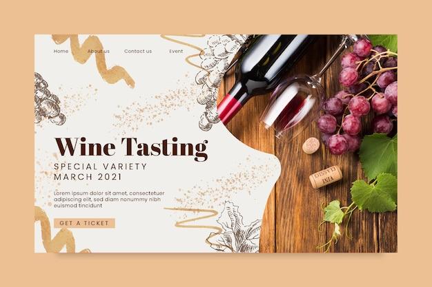 Plantilla de página de destino de cata de vinos